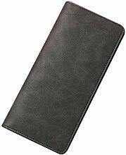 Gosear Männer Vintage PU Leder Lange Slim Geldbörse Brieftasche Karte Inhaber Geld Geldbeutel Schwarz