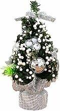 Gosear Mini Weihnachten Baum Tabelle Dekoration Xmas Ornament Decor für Startseite Office Shop Fenster Weihnachten Partei Silber