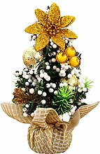 Gosear Mini Weihnachten Baum Tabelle Dekoration Xmas Ornament Decor für Startseite Office Shop Fenster Weihnachten Partei Goldene