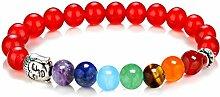 Gosear Natürliche Stein 7 Chakren Edelstein Perlen Armband Yoga Reiki Gebet Energie Heilung Balance Armband Schmuck Rot Stil