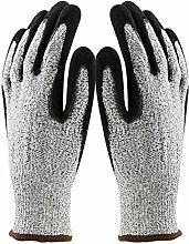 Gosear Sicherheit Stich Schnitt Widerstandsfähig Küche Handschuhe mit Ebene 5 Schutz für Schneiden Metallbearbeitung Hof Arbeit L
