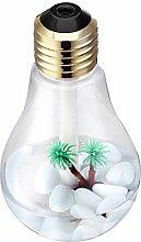Gosear USB Ultraschall Luftbefeuchter Home-Office Desktop Mini bunt LED-Nachtlicht 400ml Glühlampenform Flasche Luft-Reinigungsapparat Zerstäuber C