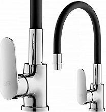 GOSHE Wasserhahn Küche Schwarz mit Flexibler