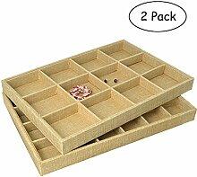 gossipboy 2/1Set Premium Leinen Schmuck Tablett für Ring, Ohrring, Halskette, Brosche, kleine Thing Organizer Storage Fall 12Grid, 24Grid