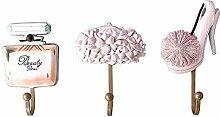 gossipboy 3PCS/1SET Vintage Pink Fashion Design Utility Harz Wand Aufhänger Wand montiert Haken Coat Hat Haken Heavy Duty Zimmer Dekorationen Aufbewahrung Haken für Küche Badezimmer Schlafzimmer Brus