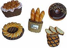 gossipboy 5PCS/1SET Funny 3D Brot Design Kühlschrank Kühlschrank Magnete–Perfect Family Kühlschrank Dekoration, Büro Magnete, Dry Erase Board Magnete, Kühlschrank Magnete