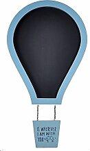 gossipboy Cute Heißluftballon Design Wandbehang Schwarz Board Nachricht Foto Memo Board Kreidetafel Store Home Bar Dekoration Werbung Board mit Holzrahmen blau