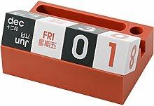 gossipboy Kunststoff Tisch Würfel Block Kalender Creative Schreibtisch Dekoration Ständer Kalender mit Telefon und Stifthalter für Büro, Zuhause, Wohnzimmer, Schlafzimmer ro