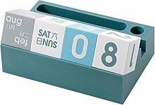 gossipboy Kunststoff Tisch Würfel Block Kalender Creative Schreibtisch Dekoration Ständer Kalender mit Telefon und Stifthalter für Büro, Zuhause, Wohnzimmer, Schlafzimmer blau