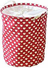 gossipboy Love Muster Rund Groß Leinen & Baumwolle Stoff Wäschekorb, zusammenklappbar Korb Kleidung Organizer Storage Müllbeutel-43,2x 33cm ro