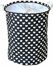 gossipboy Love Muster Rund Groß Leinen & Baumwolle Stoff Wäschekorb, zusammenklappbar Korb Kleidung Organizer Storage Müllbeutel-43,2x 33cm schwarz