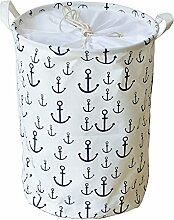 gossipboy Mediterraner Stil Groß Rund Leinen & Baumwolle Stoff Wäschekorb, zusammenklappbar Korb Kleidung Organizer Storage Müllbeutel-43,2x 33cm weiß