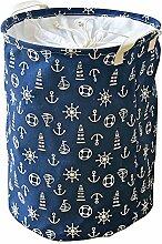 gossipboy Mediterraner Stil Groß Rund Leinen & Baumwolle Stoff Wäschekorb, zusammenklappbar Korb Kleidung Organizer Storage Müllbeutel-43,2x 33cm blau