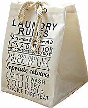 gossipboy, quadratisch, groß, Leinen & Baumwolle Stoff Wäschekorb, zusammenklappbar Korb Kleidung Organizer Storage Müllbeutel-48,3x 35,6cm