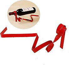 gossipboy rot Riband Hängelampenschirm Magic Fahrwerk Wein Halter Funny Floating Winebottle Ständer Einzigartige Illusion Flasche Rack Regal für Home Tischdekorationen