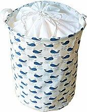 gossipboy Süßes cetacean Muster groß rund Leinen & Baumwolle Stoff Wäschekorb, zusammenklappbar Korb Kleidung Organizer Storage Müllbeutel-43,2x 33cm
