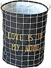 gossipboy Süßes Grid Muster groß rund Leinen & Baumwolle Stoff Wäschekorb, zusammenklappbar Korb Kleidung Organizer Storage Müllbeutel-48,3x 38,1cm schwarz