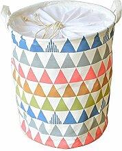 gossipboy-Triangle Muster groß rund Leinen & Baumwolle Stoff Wäschekorb, zusammenklappbar Korb Kleidung Organizer Storage Müllbeutel-43,2x 33cm