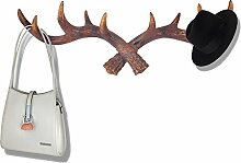 gossipboy Vintage Geweih Deer Design Wand Haken zum Aufhängen Kunstharz Kleidung Coat Hat Aufhänger Rack Multifunktions Tasche Schlüssel Geldbörse Jewelry Lagerung Organizer Haken Wand Dekoration bronze