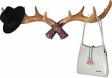 gossipboy Vintage Geweih Deer Design Wand Haken zum Aufhängen Kunstharz Kleidung Coat Hat Aufhänger Rack Multifunktions Tasche Schlüssel Geldbörse Jewelry Lagerung Organizer Haken Wand Dekoration gelb