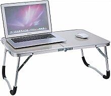 GOTOTOP Klappbar Koffertisch Klein Laptoptisch Fürs Bett Tragbares Stehtisch Betttisch aus Aluminium für Reise Camping Büro Studien (Weiß)