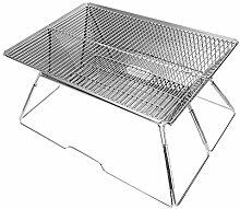 GOTOTOP Silber Klappbarer Grill, Holzkohlegrill
