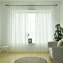 GOTTING Bunte Vorhang Durchlässiger gestickter Kreis Voile Fenster drapiert Semi Sheer Schlafzimmer Drapierung Wohnzimmer Jalousien Licht Weiß 1x2.5m