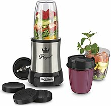 GOURMETmaxx 09833 Nutrition Mixer Royal | Edelstahl | inkl. To-Go Becher | Ideal für Smoothies & Cocktails | 8 teiliges Set | 7 Funktionen | 700 Watt | Silber