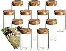 gouveo 12er Set 250 ml Glasdosen Vorratsdosen aus