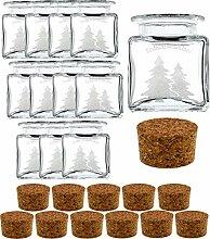 gouveo 12er Set 50 ml Mini Korkengläser Quadrat