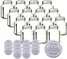 gouveo 15er Set Einmachgläser Quadrat 350 ml