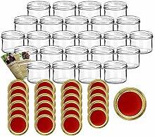 gouveo 24er Set Einmachgläser 230 ml Rund mit