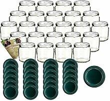 gouveo 24er Set Einmachgläser 360 ml Rund mit