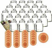 gouveo 24er Set Einmachgläser Quadrat 350 ml mit