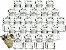 gouveo 24er Set Gewürzgläser Quadrat 120 ml mit
