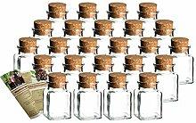 gouveo 24er Set Gewürzgläser Quadrat 150 ml mit