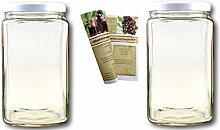 gouveo 2er Set Einmachgläser Quadrat 3.100 ml