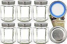 gouveo 48er Set Einmachgläser Hexagon 332 ml