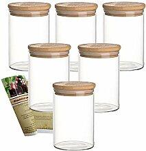 gouveo 6er Set 500 ml Glasbehälter aus