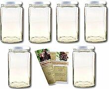 gouveo 6er Set Einmachgläser Quadrat 3.100 ml