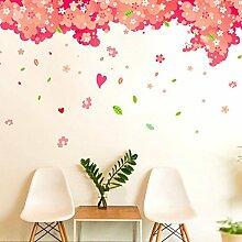 GOUZI Kreative Aufkleber warmen und vollen Haus Kirschbaum bett zimmer Wandschmuck, Cherry Blossom Blätter, König abnehmbare Wall Sticker für Schlafzimmer Wohnzimmer Hintergrund Wand Bad Studie Friseur