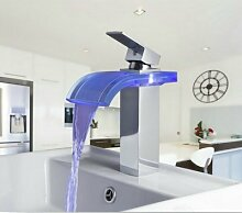 Gowe 3Farben Wasserfall Auslauf Waschbecken Torneira LED Licht Badezimmer Chrom Deck montieren Waschbecken Spüle, Wasserhähne, Einhebelmischer