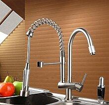 Gowe 360Hot doppelte Griffe gratis Messing Wasser Küchenarmatur schwenkbarer Auslauf Ziehen Schiff Spüle Keramik-Mischbatterie Wasserhahn