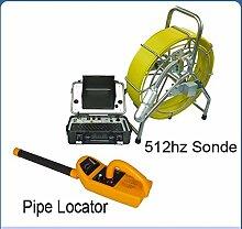 Gowe 60m Kabel Länge 360Pan drehbar Kamera Pipeline Drain Sanitär Rohr Inspektionskamera mit 512Hz Sonde 512Hz Empfänger Locator Sensor Größe: 1/10,2cm; horizontale Auflösung: 700TVL; Signal System: PAL