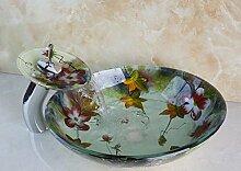 Gowe Aufsatzwaschbecken mit aufgemaltem Blumenmuster, luxuriös, aus gehärtetem Glas