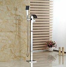 Gowe Badewannen-Armatur zur Bodenmontage, freistehend, mit Wasserfall-Einlauf, Wasserhahn, Handbrause
