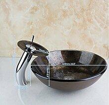 Gowe Badezimmer Art Rund Waschbecken schwarz Waschbecken aus Sekuritglas mit Wasserfall Chrom Wasserhahn Se