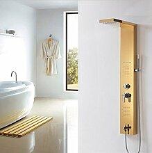 Gowe Badezimmer Rainfall Edelstahl Duschpaneel Wasserhahn mit Massagedüsen und Regen Massage Handbrause, Wandhalterung Golden Finish