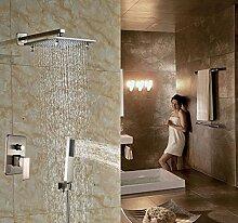 Gowe Badezimmer Wand montiert Dusche Wasserhahn Hebel mit Handbrause gebürstet Nickel 8-in Dusche Se