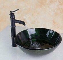 Gowe Bambus Waschbecken Wasserhahn schwarz +